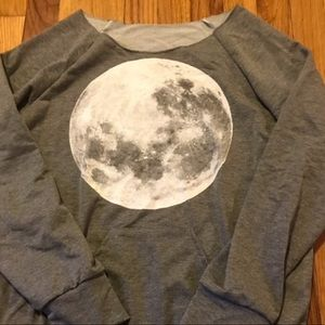 NWOT Women's distressed Moon Graphic Long Sleeved